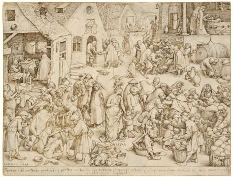 Pieter Bruegel, Charity, 1559. Pen and brown ink, indented. Museum Boijmans Van Beuningen.