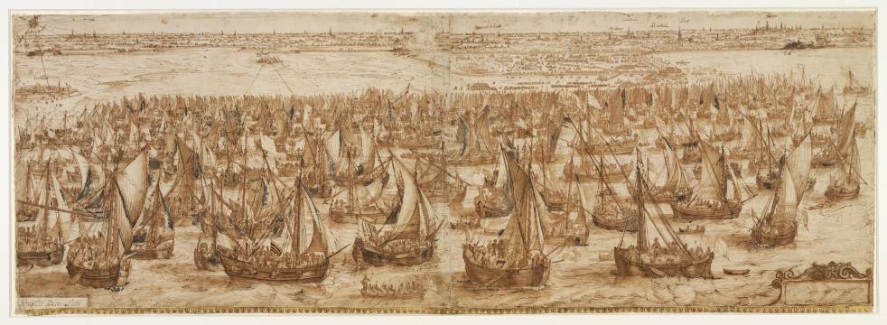Hendrik Cornelisz Vroom, The Landing of the Army Fleet of Prince Maurits at Philippine. Pen and brown ink, brown wash, heightened with white, indented. Museum Boijmans Van Beuningen.