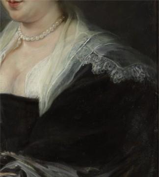 Linkermouw en kraag, detail schilderij, foto: Studio Tromp. Peter Paul Rubens, Portret van een vrouw (1635-1640)