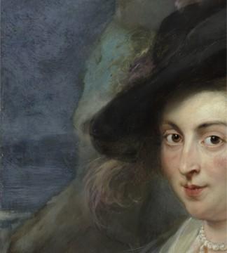 Achtergrond links, detail schilderij, foto: Studio Tromp. Peter Paul Rubens, Portret van een vrouw (1635-1640)