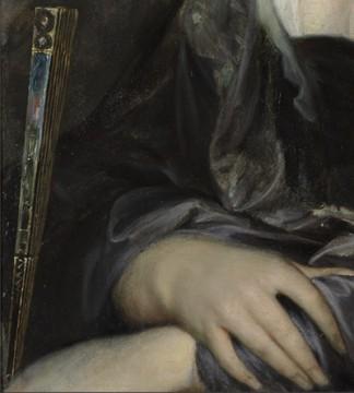 Handen en waaier, detail schilderij, foto: Studio Tromp. Peter Paul Rubens, Portret van een vrouw (1635-1640)