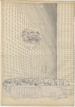 Hariton Pushwagner, van / from: Soft City, pagina / page 97 tekening / drawing 158 - 161, 1969-1975, Image courtesy and copyright the artist