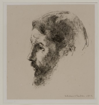 Odilon Redon, Pierre Bonnard, 1902 litho op chine-collé, 14,5 x 12 cm Rechtsonder de voorstelling in potlood gesigneerd en gedateerd. Verzameling J.