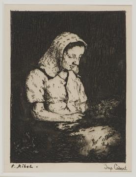 Théodule Auguste Ribot, Lezend meisje, 1876 ets, 11,5 x 8,7 cm Druk Cadart. Verzameling W., van J. gekregen in 1979.