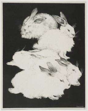 Theo van Hoytema, Vijf angorakonijnen, 1898 Zwartekunst-litho en blinddruk op chinecollé, 41,5 x 32,8 cm Nr. 2 uit de Portefeuille Dierstudies Verzameling J.