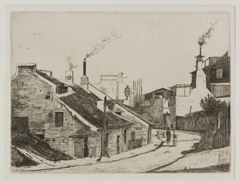 François Bonvin, La rue du Champ-del'Alouette, 1861 ets, 13,7 x 18,1 cm Uitgave Cadart. Pl. 5 uit de serie Première suite de dix eau-fortes, 1861- 1871. Verzameling W., door J. voor hem gekocht in Parijs, 1966.