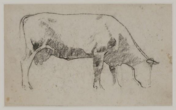 Jan Voerman sr., Grazende koe, ca. 1907 zwart krijt, 12,3 x 20,3 cm Verzameling J., herkomst erven Voerman.