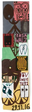 Tal R – Deaf Institute. Acryl op papier, 207 x 52 cm. Paradis/Tal R, Kobenhavn