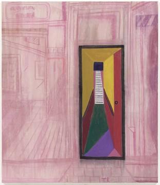 Tal R – Upstairs, 2005 Pigment en konijnenlijm op canvas, 200 x 172 cm Galleri Bo Bjerggaard. Foto: Anders Sune Berg