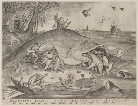 Pieter van der Heyden, Big Fish Eat Little Fish, 1557, Museum Boijmans Van Beuningen, Rotterdam. From the estate of Dr. J.C.J. Bierens de Haan 1951