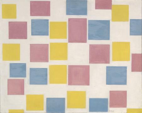 Piet Mondriaan, Compositie met kleurvakjes, 1917, collectie Museum Boijmans Van Beuningen.