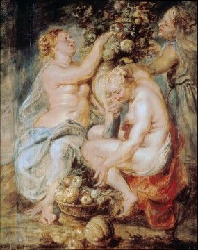 Peter Paul Rubens and Frans Snyders, Three Nymphs with the Horn of Plenty, c. 1625-28, oil on canvas, 224 x 166 cm. Madrid, Museo Nacional del Prado