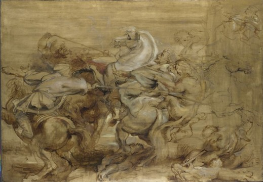 Peter Paul Rubens, The Lion Hunt, c. 1615, oil on panel, 73,6 s 105,4 cm. London, The National Gallery