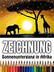 Zeichnung Sonnenuntergang in Afrika stream