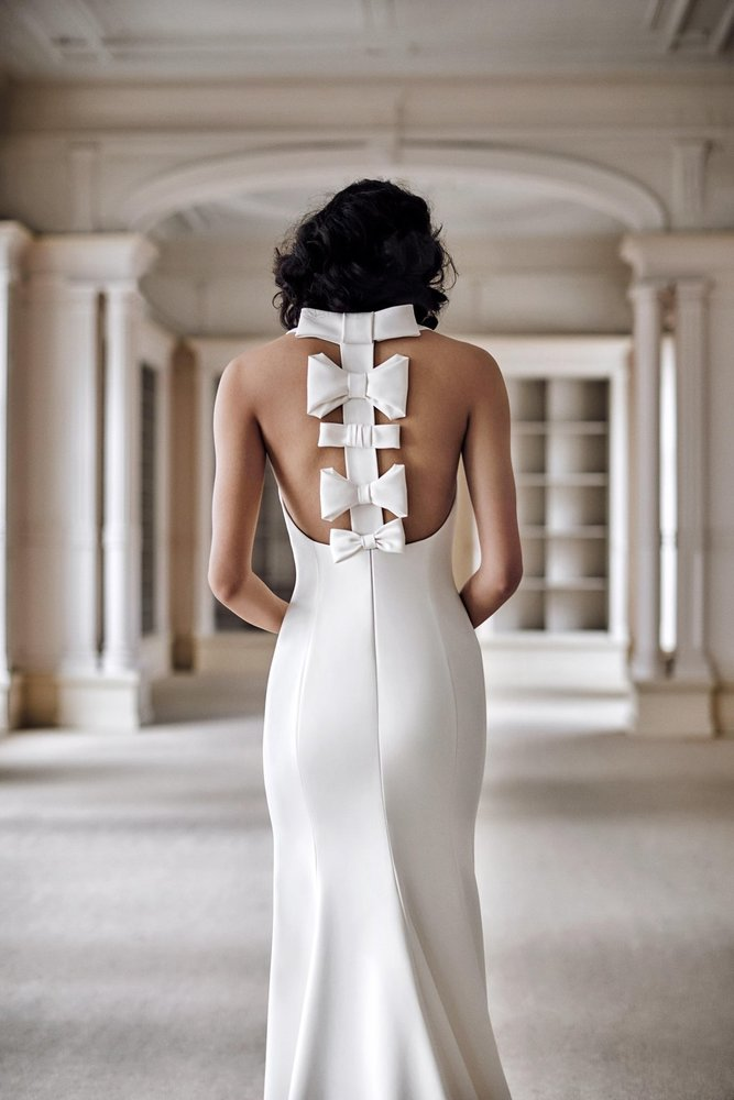 bow spine fit and flare dress photo