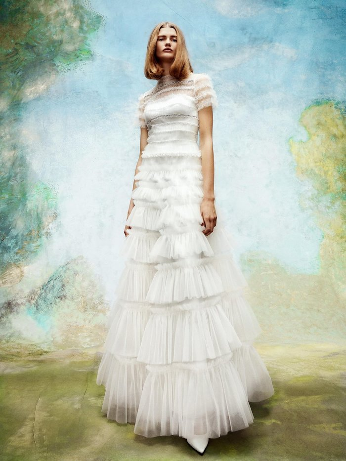 embellished tulle ruffle gown  dress photo