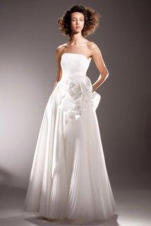 draped rose diagonal cut gown dress photo 1