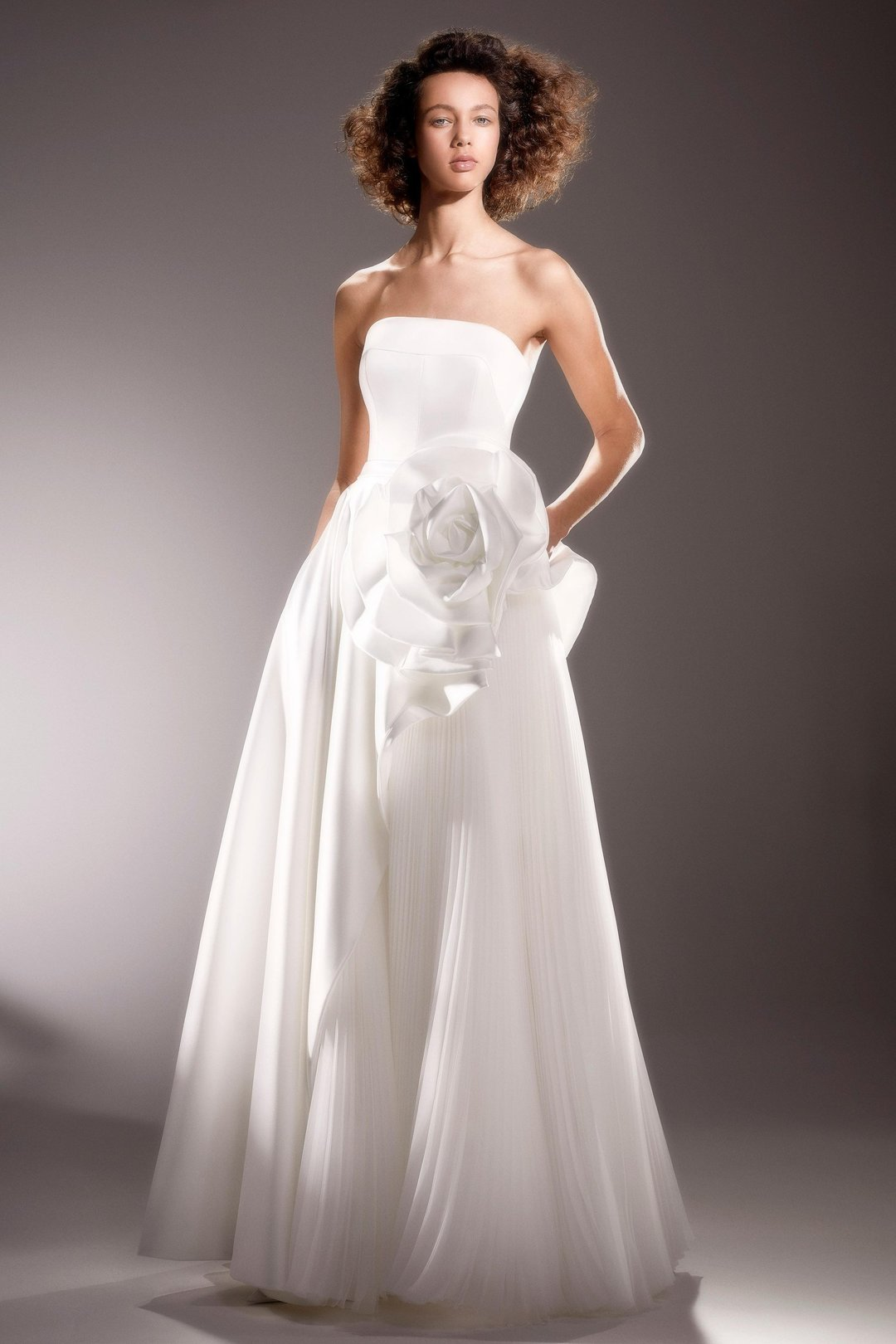draped rose diagonal cut gown dress photo