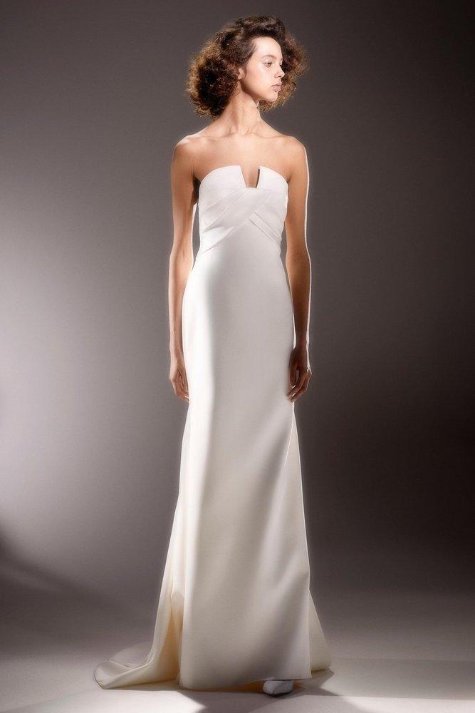 sculptural wrap drape  dress photo