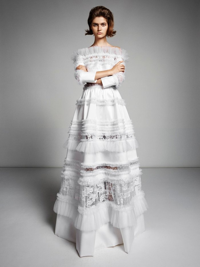 lace graphic patchwork gown dress photo