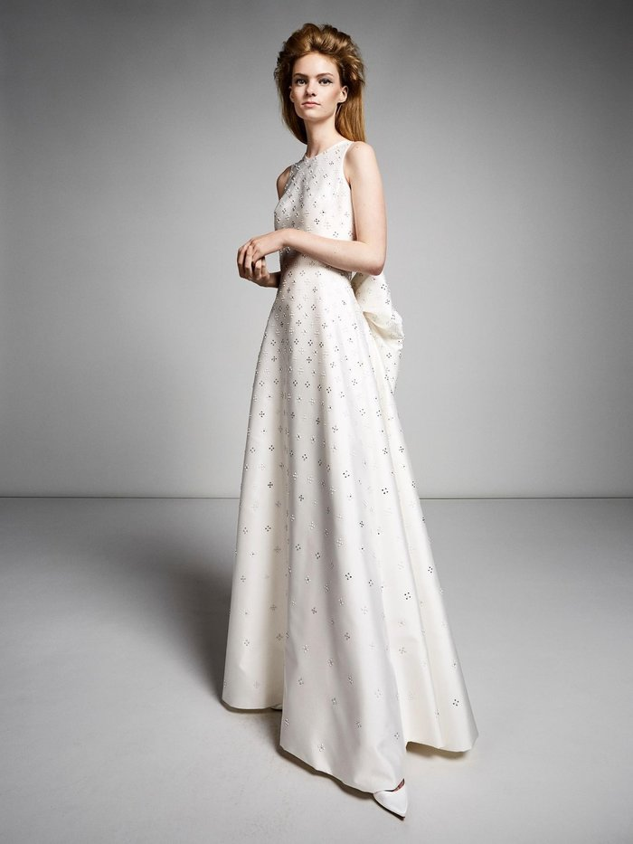 bow back crystal gown  dress photo