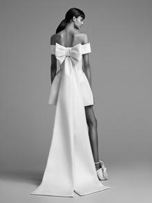 sculptural bow train mini pantsuit  dress photo 2