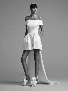 sculptural bow train mini pantsuit  dress photo 1