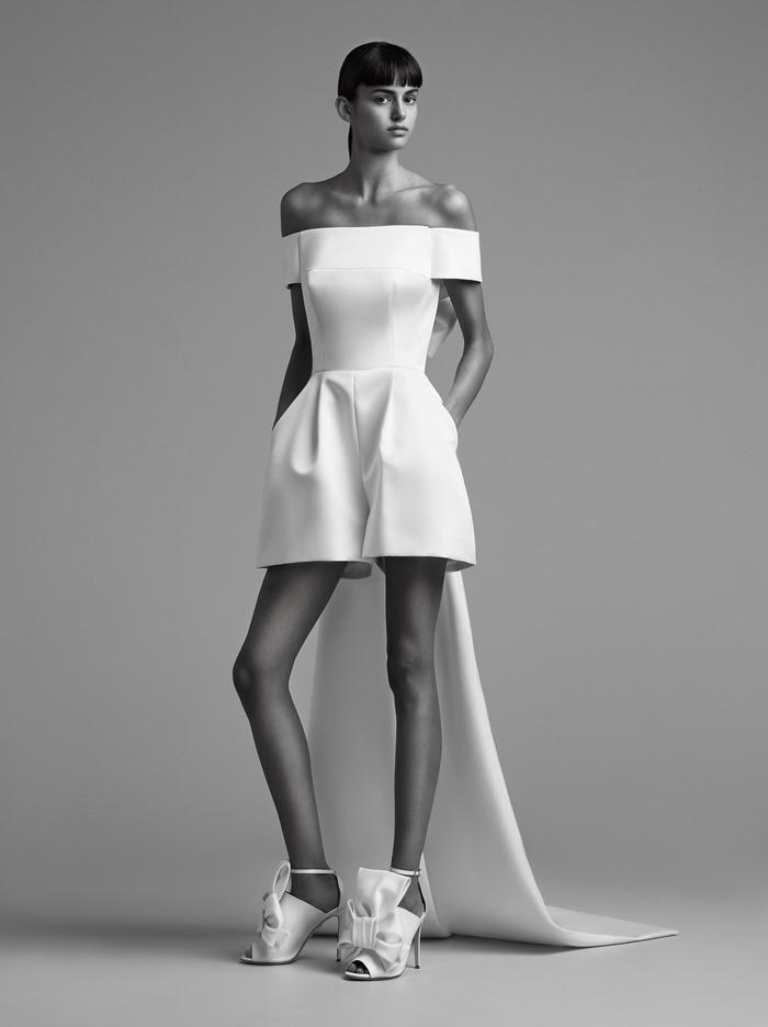 sculptural bow train mini pantsuit  dress photo