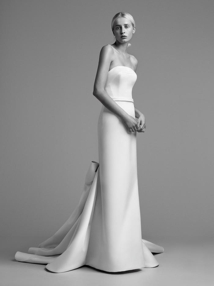 draped bow train gown  dress photo