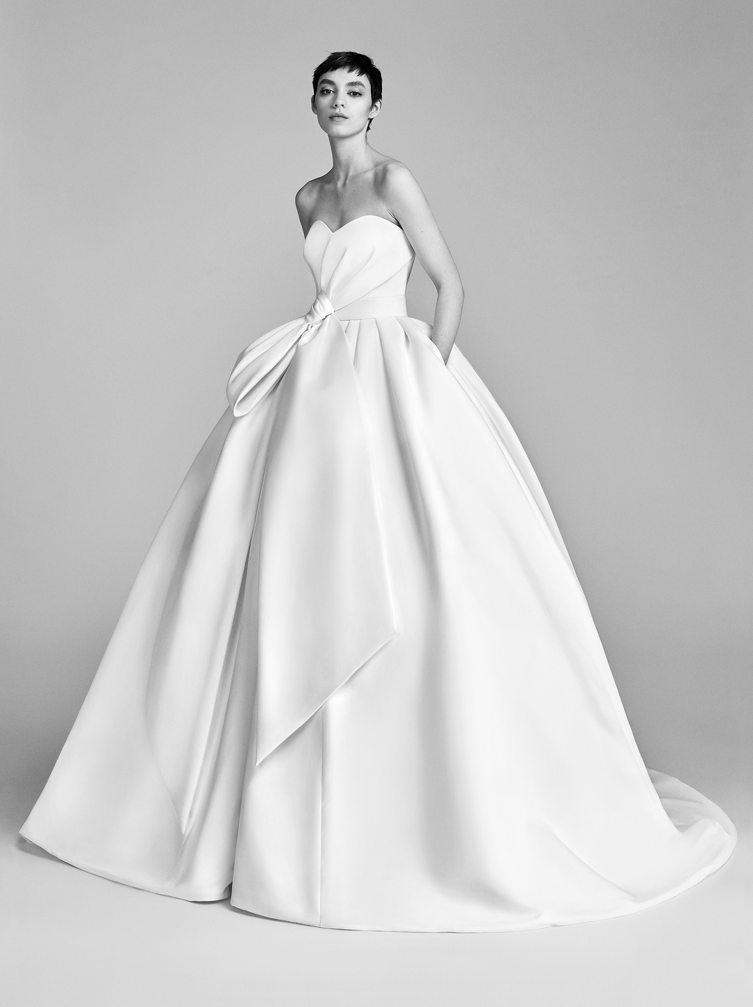 bow drape ballgown  dress photo