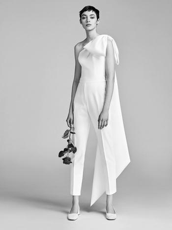 one shoulder bow jumpsuit  dress photo