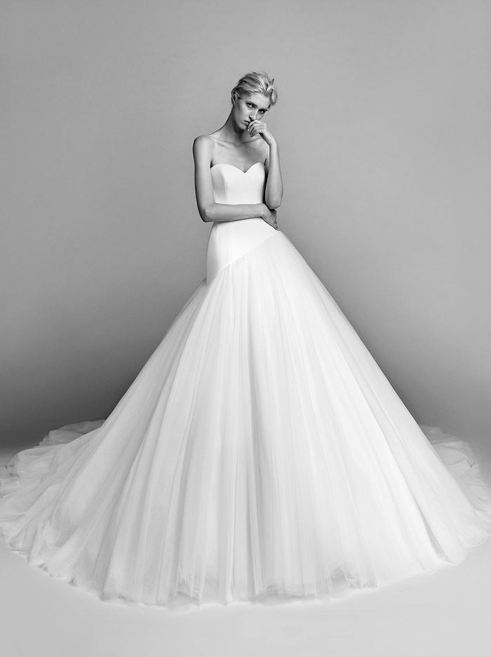 diagonal cut tulle gown  dress photo