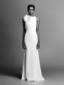 couture flower fit and flare crepe  dress photo 1