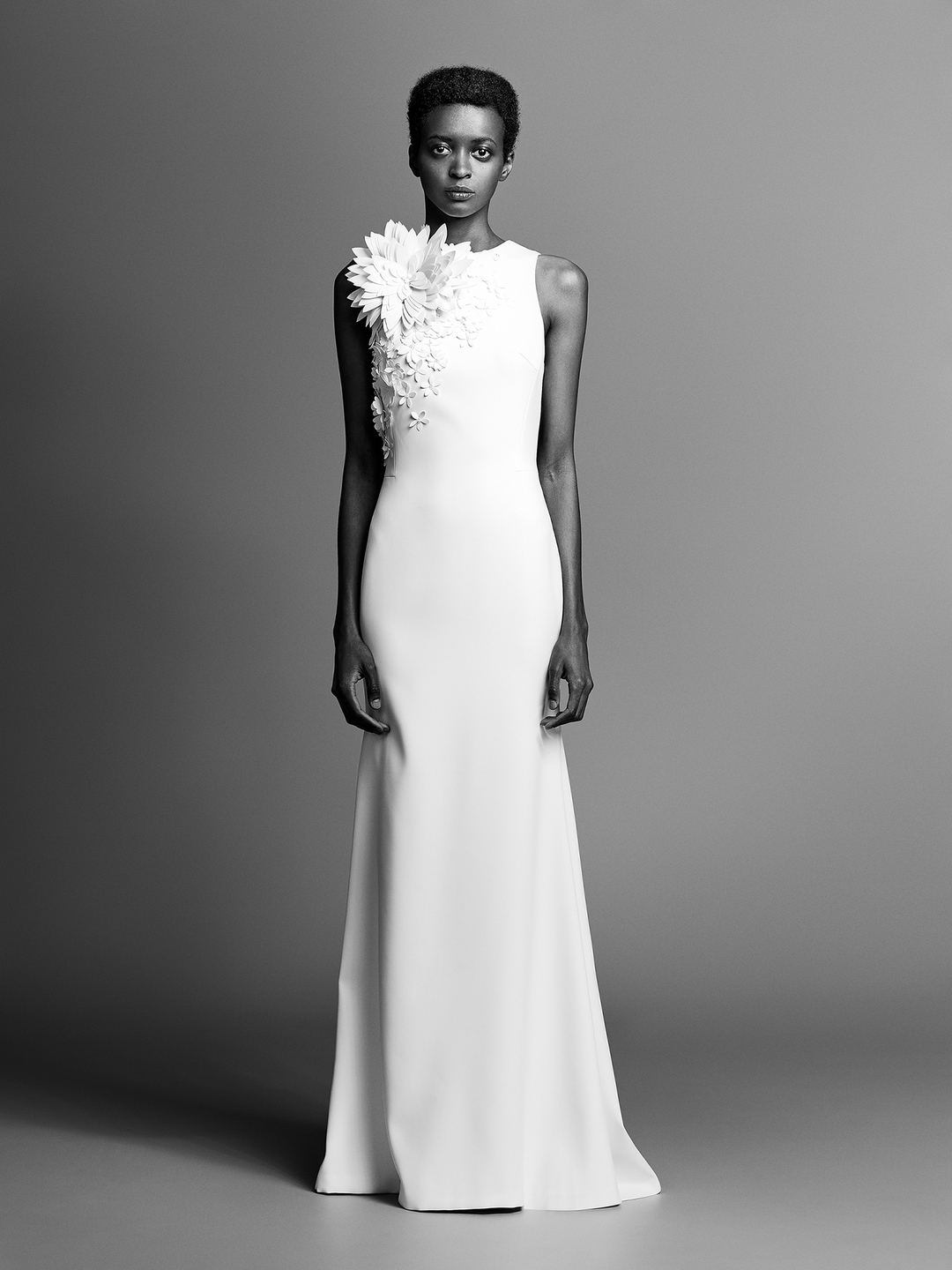 couture flower fit and flare crepe  dress photo