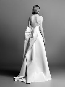 dramatic bow back column dress photo 2
