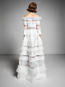 lace graphic patchwork gown dress photo 2