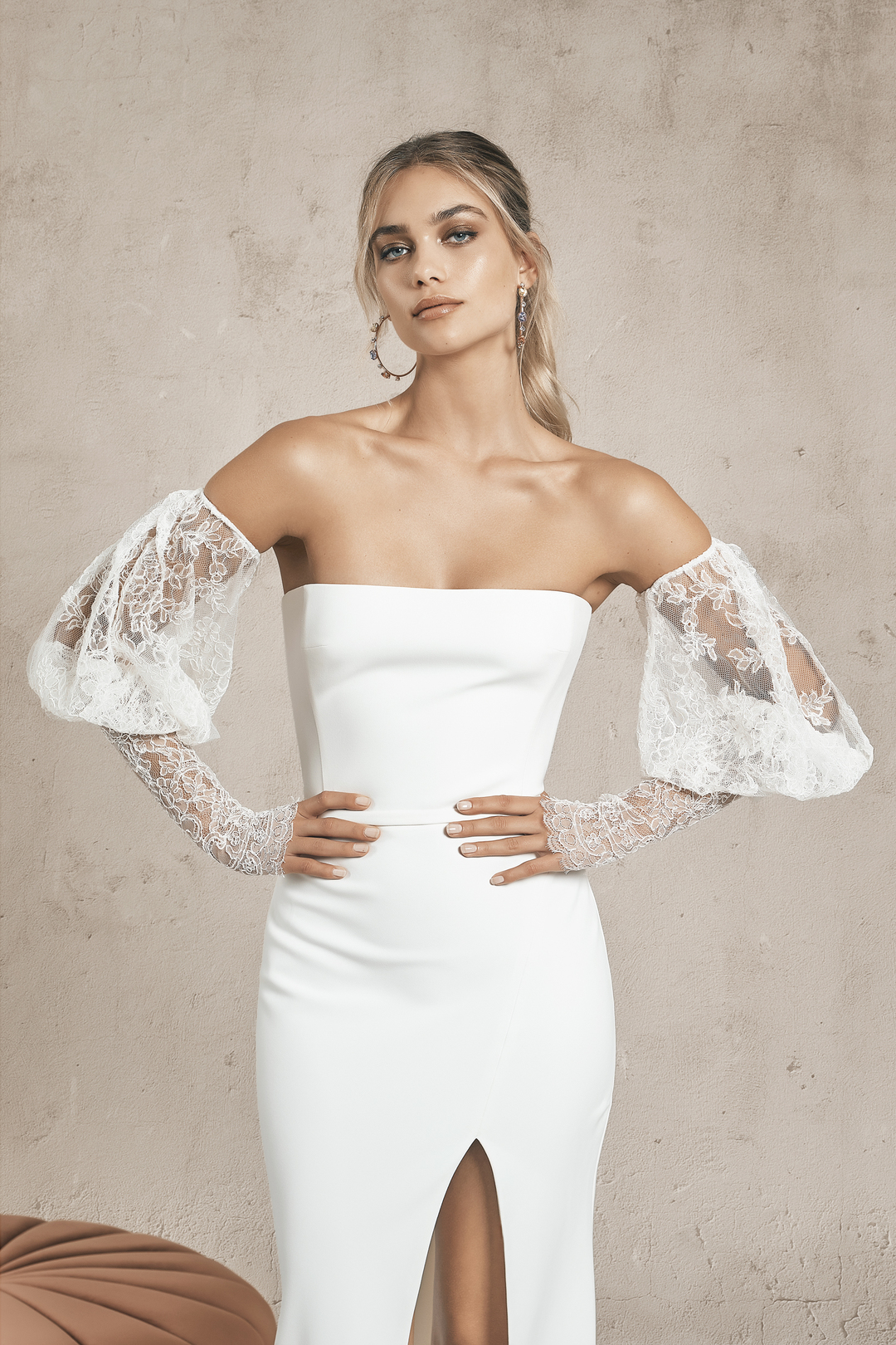 lace sleeves dress photo