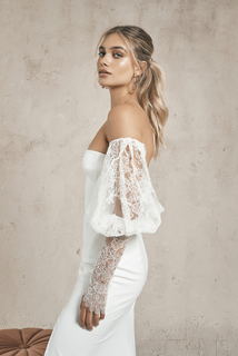 lace sleeves dress photo 2