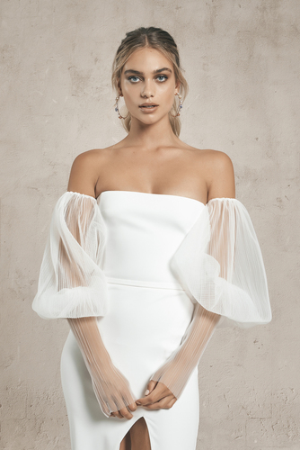 tulle sleeves dress photo