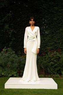 style 027 + style 030 // long sleeved wrap + soft fishtail skirt dress photo 1