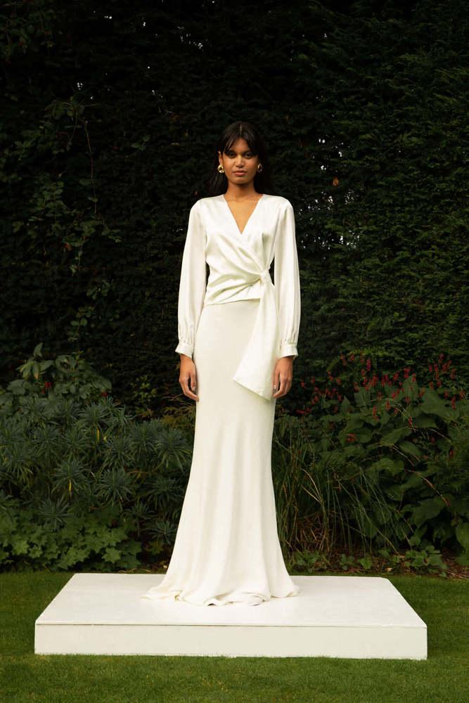 style 027 + style 030 // long sleeved wrap + soft fishtail skirt dress photo