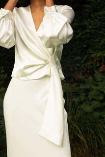 style 027 + style 030 // long sleeved wrap + soft fishtail skirt dress photo 3