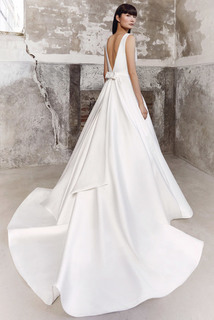 graphic draped gown dress photo 2