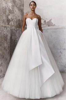 graphic sash ballgown dress photo 1