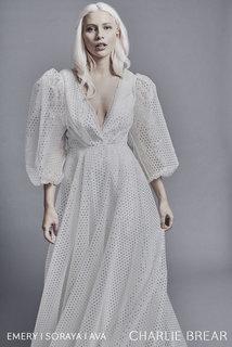 ava gold dash sleeves dress photo 1