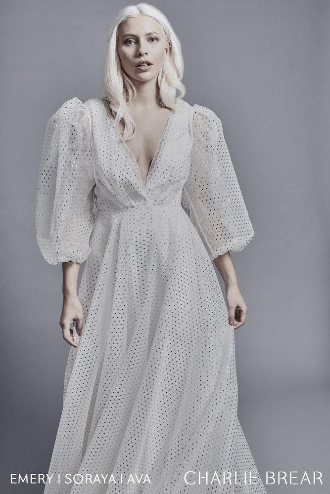 ava gold dash sleeves dress photo