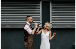 amber and sam's urban  wedding inspiration photo