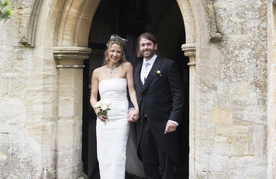 Main josh and tilly entrance of the church post ceremony