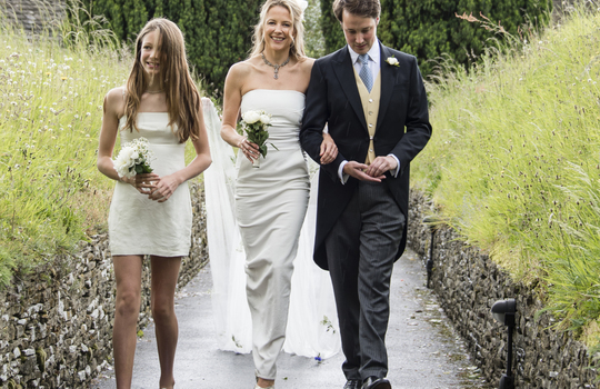 Main arriving at the church with daughter lola  maid of honour and jack  copy