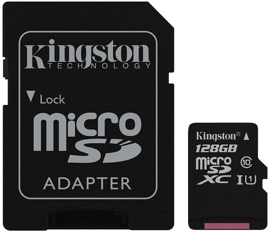 Kingston 128 GB Canvas Select UHS-I microSDXC Memory Card w SD Adapter